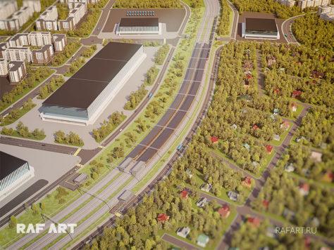 Визуализация проекта станции РЖД «Санино» | МЦД-4 «Железнодорожный - Апрелевка»