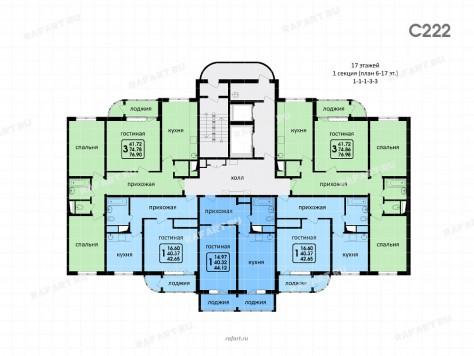 1 секция - планировка этажей 6-17